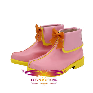 Anime LoveLive Sunshine Aqours Takami Chika MF Activity Pink Cosplay Shoes Boots Custom Made for Adult Men and Women Halloween Carnival