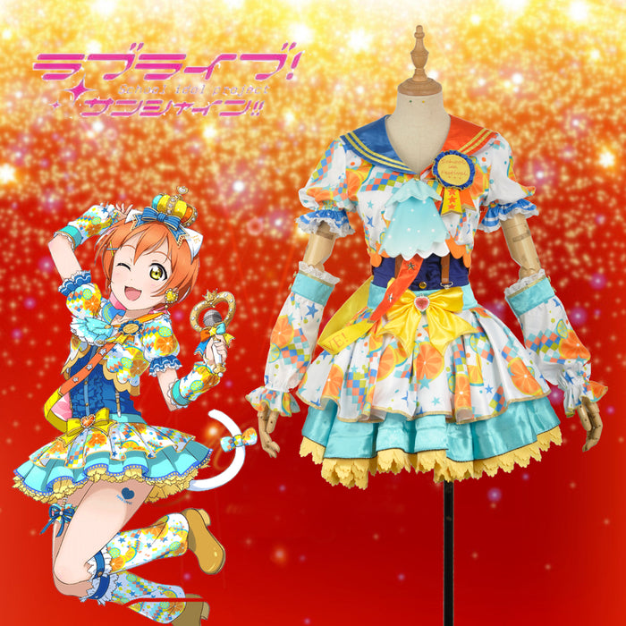 Anime Love Live! Idol Awakening Hoshizora Rin Cosplay Costume Custom Made for Girls Adult Women Halloween Carnival Party Outfits