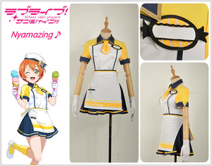 Love Live! Unawakened Ice Cream Hoshizora Rin Cosplay Costume Custom for Halloween Carnival