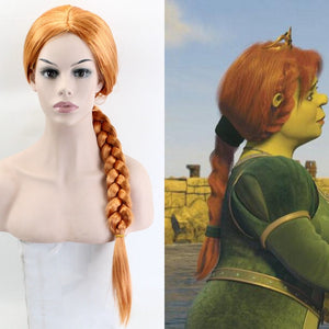 Anime Movie Shrek Princess Fiona Orange Braided Hair Cosplay Wig Cosplay for Adult Women Halloween Carnival