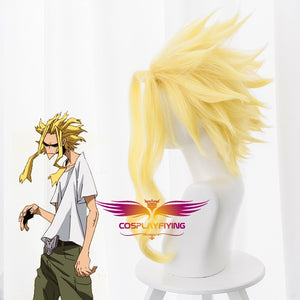 Anime My Hero Academia Baku No Hero All Might Short Yellow Curls Cosplay Wig Cosplay for Boys Adult Men Halloween Carnival Party