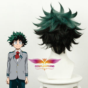 Anime My Hero Academia Baku No Hero Izuku Midoriya Short Green Black Cosplay Wig Cosplay for Boys Adult Men Halloween Carnival Party
