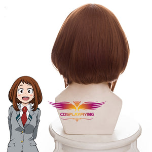 Anime My Hero Academia Baku No Hero Uraraka Ochako Short Brown Bobo Cosplay Wig Cosplay for Girls Adult Women Halloween Carnival Party