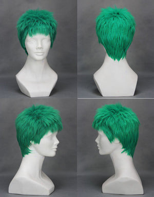 Anime ONE PIECE Roronoa Zoro Short Green Fluffy Cosplay Wig Cosplay for Boys Adult Men Halloween Carnival Party