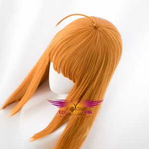 Anime Persona 5 Futaba Sakura Orange Long Straight Cosplay Wig Cosplay for Girls Adult Women Halloween Carnival Party