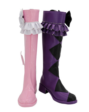 Anime Pretty Rhythm Kaname Amamiya Pink Purple Cosplay Shoes Boots Custom Made for Adult Men and Women Halloween Carnival