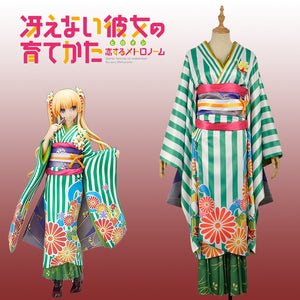 Saekano: How to Raise a Boring Girlfriend Eriri Spencer Sawamura Green Kimono Cosplay Costume for Carnival Halloween