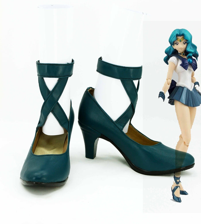 Anime Sailor Moon Kaiou Michiru Cosplay Shoes Boots Custom Made for Adult Men and Women Halloween Carnival