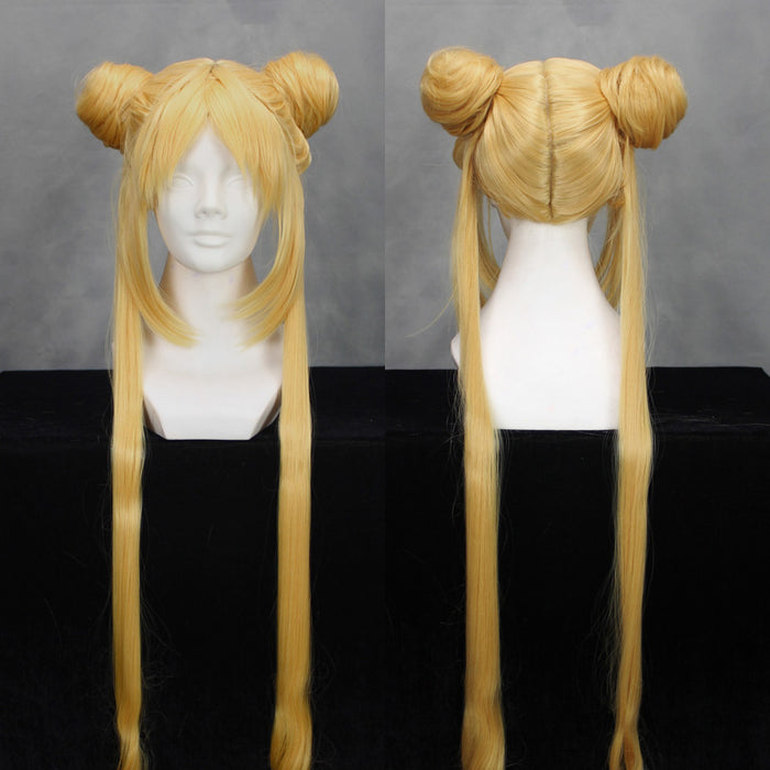 Anime Sailor Moon Tsukino Usagi Double Ponytail Long Straight Blonde Cosplay Wig Cosplay for Girls Adult Women Halloween Carnival Party