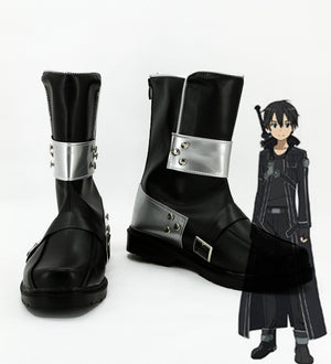 Anime Sword Art Online Kirigaya Kazuto Cosplay Shoes Boots Custom Made for Adult Men and Women Halloween Carnival Version B