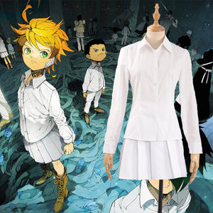 Anime The Promised Neverland Emma Cosplay Costume Custom Made Adult Women Outfit White Shirt Dress Lolita Dress