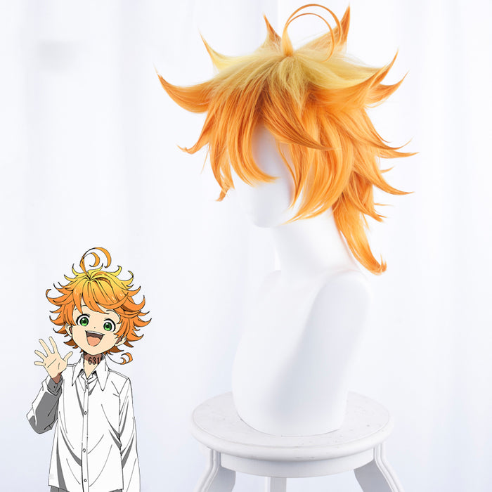 Anime The Promised Neverland Emma Short Yellow Orange Curly Cosplay Wig Cosplay for Boys Adult Men Halloween Carnival Party