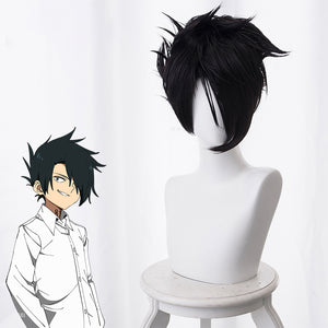 Anime The Promised Neverland Ray Black Short Curly Cosplay Wig Cosplay for Boys Adult Men Halloween Carnival Party