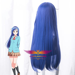 Anime We Never Learn Furuhashi Fumino Long Blue Mixed Straight Cosplay Wig Cosplay for Girls Adult Women Halloween Carnival Party
