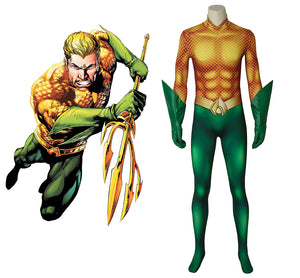 DC Comics Justice League JLA Aquaman Arthur Curry Fancy Jumpsuit Cosplay Costume Full Set for Halloween Carnival