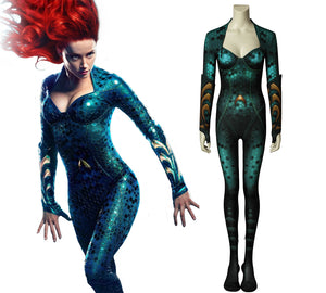 DC Comics Justice League JLA Aquaman Mera Fancy Jumpsuit Cosplay Costume for Halloween Carnival