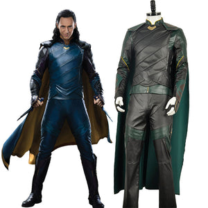 Avengers: Infinity War / Thor 3: Ragnarok Thor's Brother Loki Nanosuit Cosplay Costume With Green Cape Adult Men Battleframe