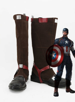 Avengers: Age of Ultron Captain America Cosplay Shoes Boots Custom Made for Adult Men and Women