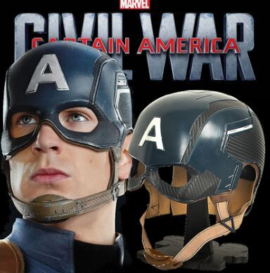Avengers Captain America Civil War Steve Roger Blue Helmet Cosplay Prop Mask FRP Metal (Head Circumference 59CM or 63CM)