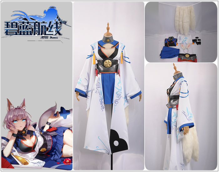 Azur Lane IJN Kaga Dress Cosplay Costume Adult Women Lolita Girl Uniform Outfit Clothing +Stockings+Ears/+Tails