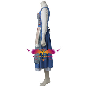 Disney Princess Beauty and the Beast Belle Maid Dress Cosplay Costume Full Set Movie Version for Halloween Carnival
