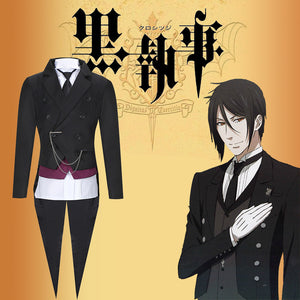 Black Butler Kuroshitsuji Sebastian Cosplay Costume Adult Men Outfit