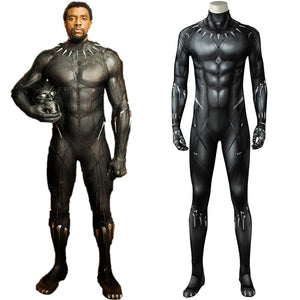 Marvel Movie Avengers Black Panther  T'Challa Battle Jumpsuit Cosplay Costume for Halloween Carnival