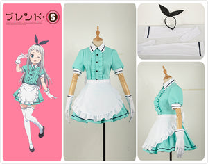 Blend S Burendo Esu Kanzaki Hideri Green Cos Women Skirt Lady Apron Maid Servant Cosplay Costume Adult Outfit Clothing Dress