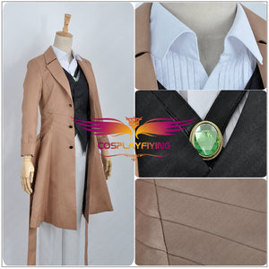 Bungo Stray Dogs Armed Detective Agency Osamu Dazai Cosplay Costume Adult Men Khaki Trench Halloween