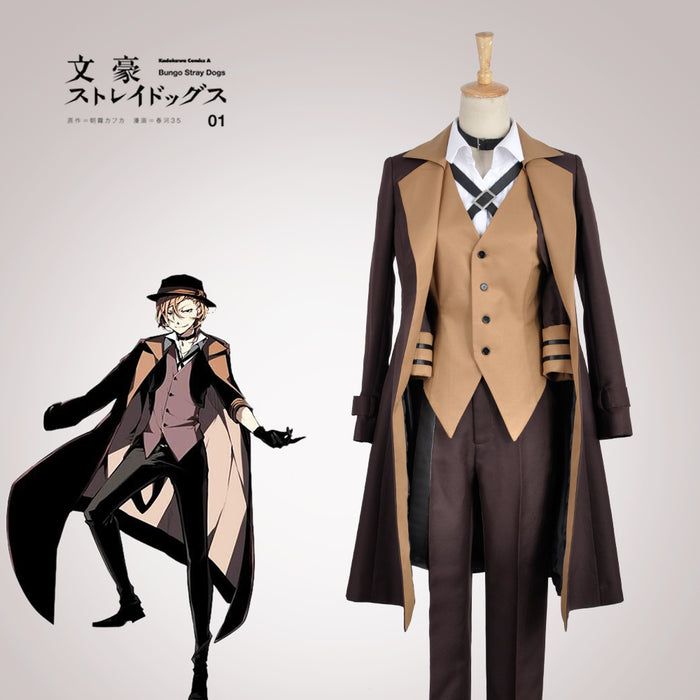 Bungo Stray Dogs Maffia Nakahara Chuya Cosplay Costume Brown Trench Hat Shirt Vest Outfit