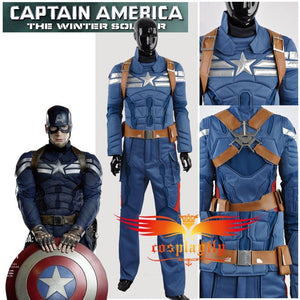 Captain America 2: Winter Soldier Avengers Steve Rogers Light Blue Version Cosplay Costume