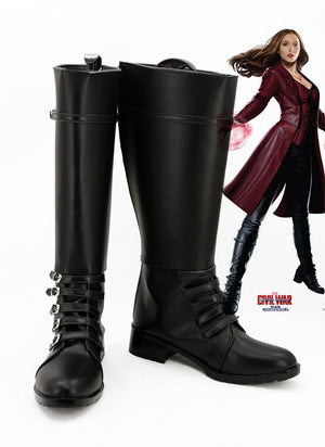 Captain America: Civil War Scarlet Witch Wanda Django Maximoff Cosplay Shoes Boots Custom Made for Adult Men and Women
