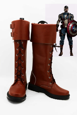 Captain America Steve Rogers Cosplay Shoes Boots Custom Made for Adult Men and Women