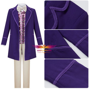 Classic Movie Willy Wonka & the Chocolate Factory Willy Wonka Cosplay Costume for Halloween Carnival with Hat