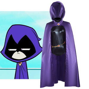 Comics Teen Titans Raven Cosplay Costume Full Set for Halloween Carnival Convention