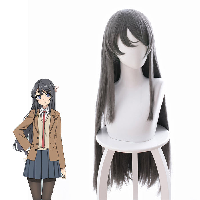 Comics Sakurajima Mai Long Grey Straight Cosplay Wig Cosplay for Girls Adult Women Halloween Carnival Party