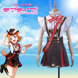 LoveLive!Sunshine!! Aqours Bremen Band Watanabe You Cosplay Costume Women Ruffles Shirt Chocolate Rompers Overalls