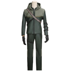 DC Comics Green Arrow Season 3 Oliver Queen Battleframe Cosplay Costume Adult Men Outfit for Halloween Carnival