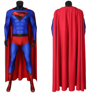 DC Comics JLA Crisis on Infinite Earths Superman Kal-El Clark Kent Jumpsuit Cosplay Costume for Halloween Carnival