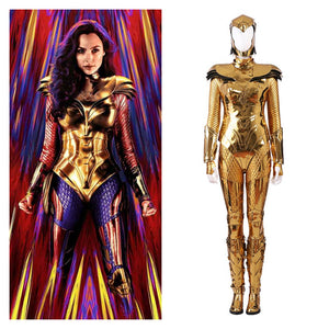 DC 2020 Movie Wonder Woman 1984 Diana Prince Golden Battle Suit Cosplay Costume Halloween Carnival Party Version A