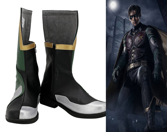 DC Comics Batman Boy Wonder Robin Cosplay Shoes Boots Custom Made for Adult Men and Women