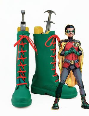 DC Comics Batman Damian Wayne Robin Cosplay Shoes Boots Custom Made for Adult Men and Women
