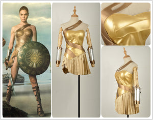 DC Comics Batman v Superman:Dawn of Justice Wonder Woman Cosplay Costume Golden Dress Skirt Summer Version