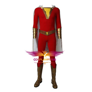 DC Comics Captain Marvel Shazam Billy Batson Cosplay Costume Red Suit for Halloween Carnival