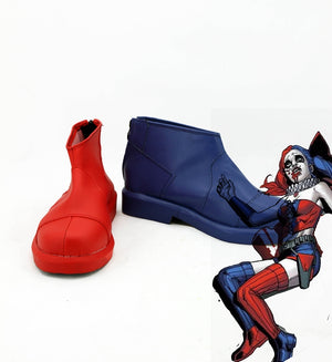 DC Comics Harley Quinn Red Blue Cosplay Shoes Boots Custom Made for Adult Men and Women