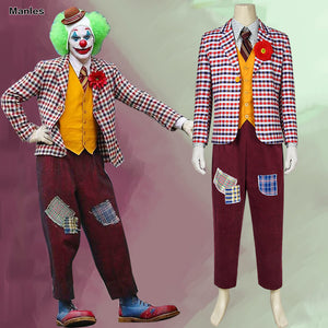 DC Comics Joker Arthur Fleck Comedian Clown Cosplay Costume Full Set for Halloween Carnival