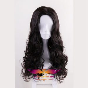 DC Comics Justice League Wonder Woman Diana Prince Black Long Curly Cosplay Wig Cosplay for Girls Adult Women Halloween Carnival