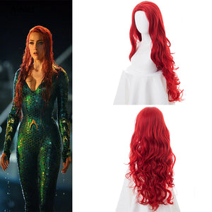 DC Comics Movie Aquaman Justice League Mera Long Curly Wavy Cosplay Wig Cosplay for Girls Adult Women Halloween Carnival