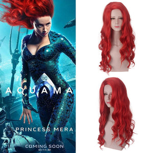 DC Comics Movie The Avengers Aquaman Mera Red Wave Cosplay Wig Cosplay Prop for Girls Adult Women Halloween Carnival Party