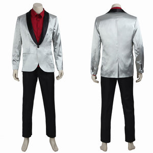 DC Comics Suicide Squad Joker Jared Leto Silver Suit Cosplay Costume for Halloween Carnival